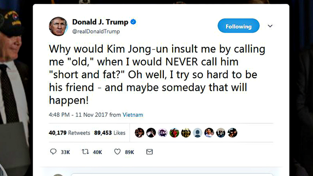 trump tweet about kim